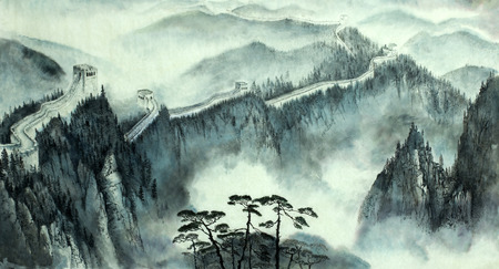 great: misty landscape with the great Chinese wall