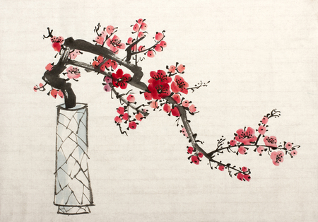 blossoming plum branch in a vase Stock fotó
