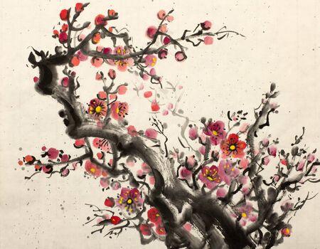 매화의 밝은 빨간 꽃이 만발하는 지점