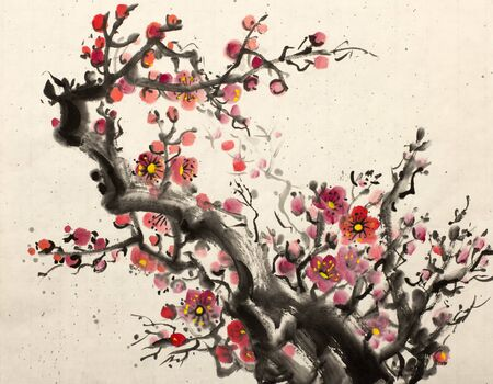 bright red blossoming branch of plum