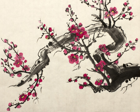 japanese apricot: The flowering plum branch painted in Chinese style Stock Photo