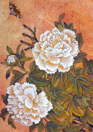 painting style: Delicate white peony and butterfly