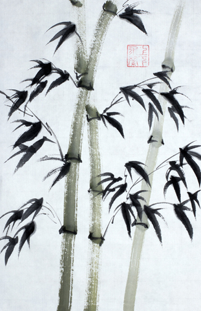 Bamboo trees painted in Chinese style