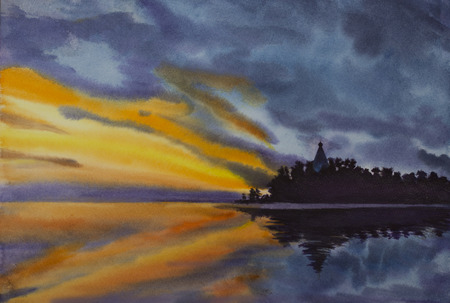 Sunset on the island of watercolor painting