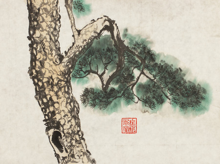 Dramatic: Chinese ink painting of a pine tree