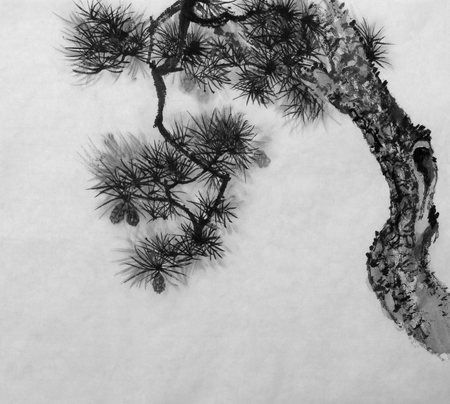 Japanese pine painted in Sumi-E style