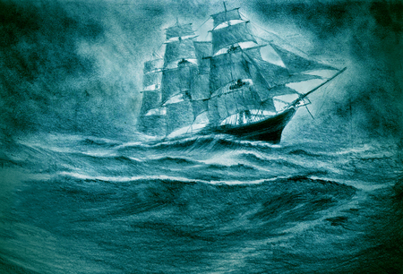 A sailing ship suffers a disaster in a storm Standard-Bild