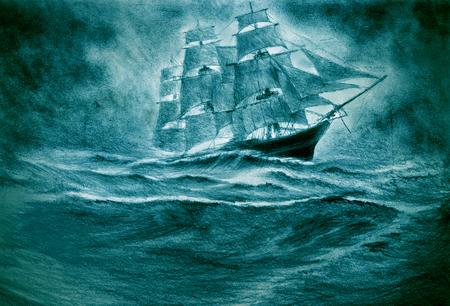 Un voilier subit une catastrophe dans une tempête Banque d'images