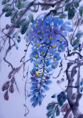 Tender flowering wisteria painted in Chinese style Stock Photo