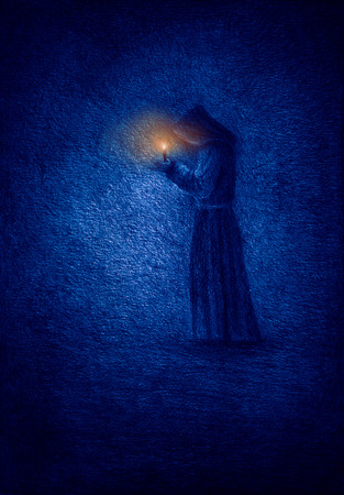 Lonely monk in a cave with a candle