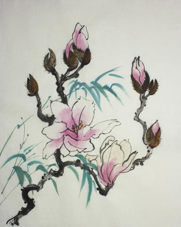핑크 목련 꽃과 대나무 가지 스톡 콘텐츠