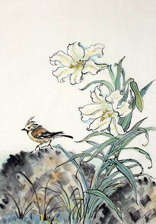 中国風に描かれている白いユリと鳥