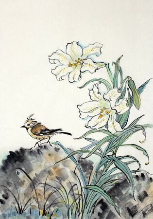 White lily and a bird painted in Chinese style