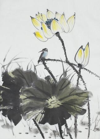 中国風に描かれている蓮の花とカワセミ