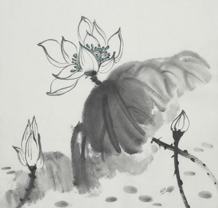 Fiore di loto dipinto in inchiostro di stile cinese Archivio Fotografico - 85037787