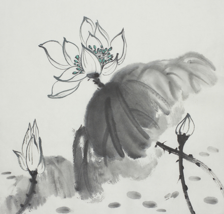 lotus flower painted in Chinese style ink