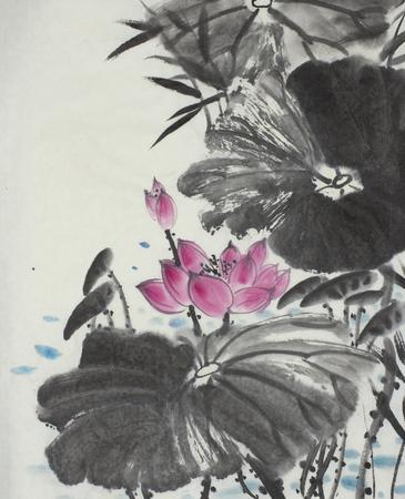 中国風に描かれた明るい蓮の花
