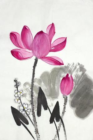 蓮の花と中国風に描かれた矢印-画家 写真素材