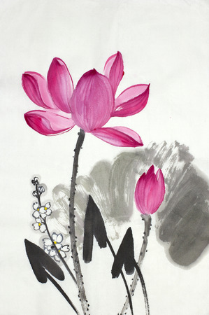 Fiore di loto e freccia-pittore verniciato in stile cinese Archivio Fotografico - 85414750