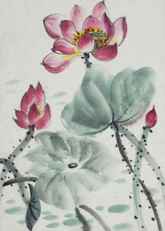 中国風に描かれている開花ロータス
