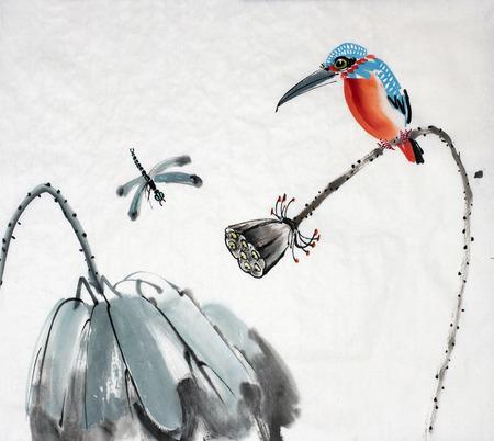 연꽃과 물총새과 중국 스타일로 그린