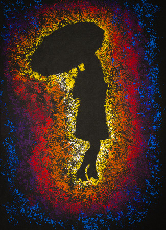 girl with umbrella in bright light Imagens
