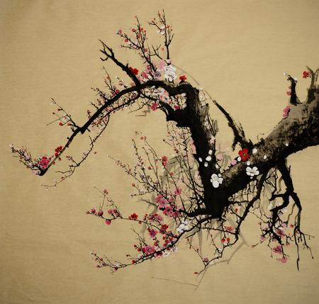 開花梅の木は中国風に描かれています。 写真素材 - 92409132