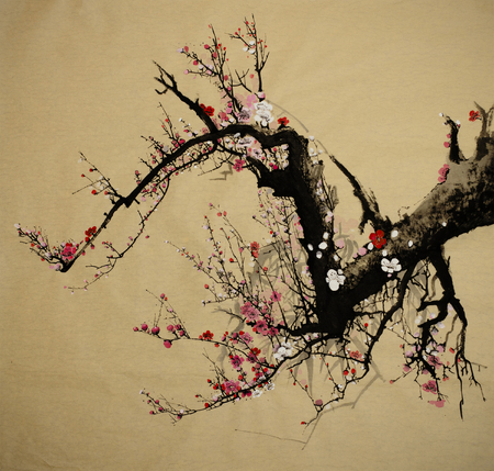 Bloeiende pruimenboom geschilderd in Chinese stijl