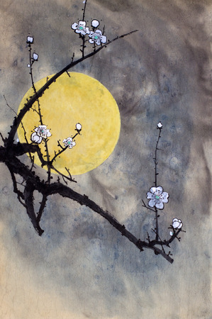 Flowering plum branch and bright moon