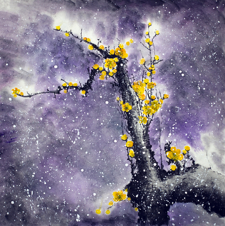 Flowering plum branch and snow flakes Stockfoto