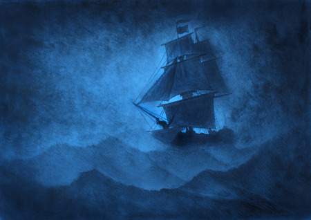 lonely sailing ship in a storm Stok Fotoğraf - 99861371