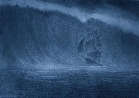 huge tsunami wave and a sailing ship