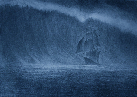 huge tsunami wave and a sailing ship