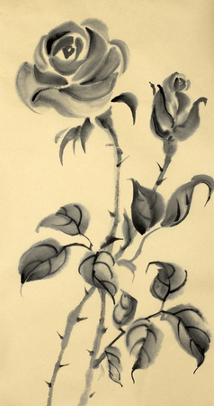 monochrome drawing of a rose on a beige background