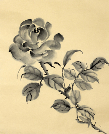 monochrome rose pattern on a gold background