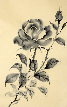 monochrome rose pattern on a gold background