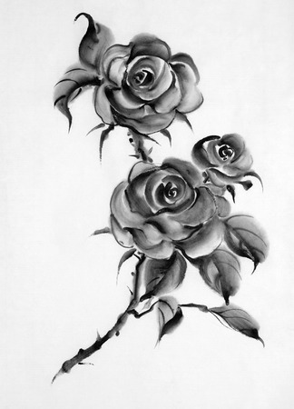 monochrome flower drawing roses on a white background
