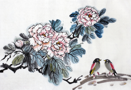 bush of pink roses and two small birds