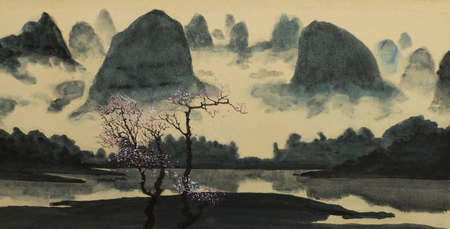 foggy mountains and flowering plum on the lake shore