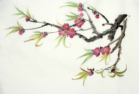 branch of a blossoming peach painted in Chinese style