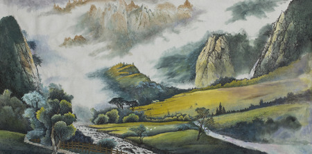 mountain landscape with a river and fields painted in Chinese style Foto de archivo