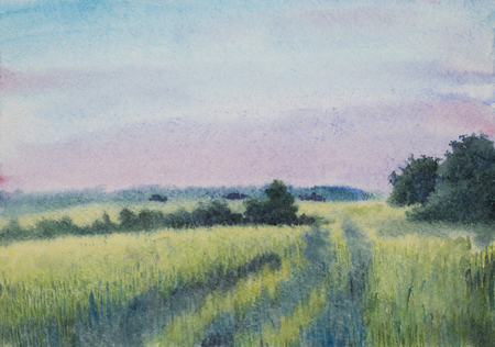 sunset over the summer field painted in watercolor Stock Photo