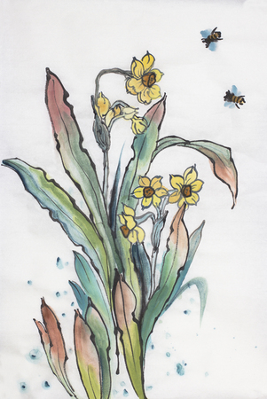 Narcissus flowers and bees on a light background