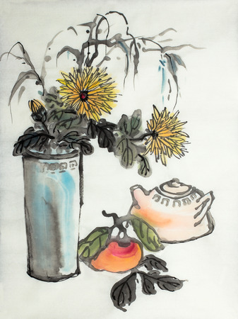 chrysanthemums in a vase and a teapot with persimmon