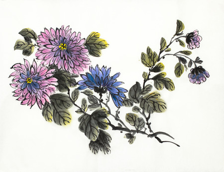 blooming branch of chrysanthemum on a light background 스톡 콘텐츠