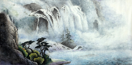 mountain landscape with a waterfall and trees Imagens