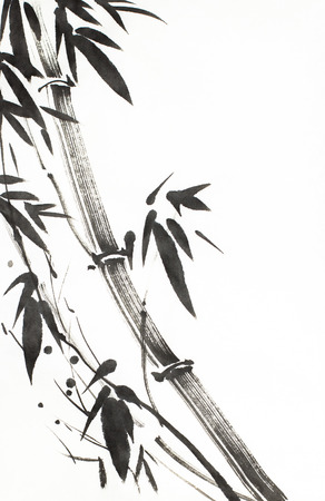 monochrome bamboo tree painted mascara