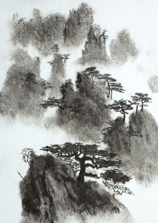 high misty mountains and pines