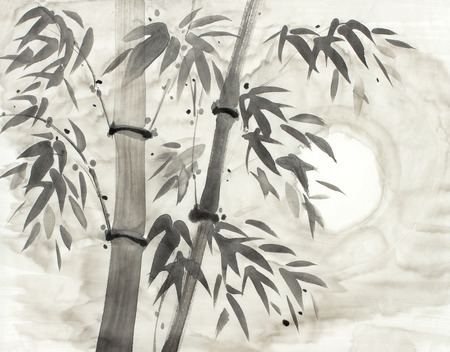 bamboo and moon drawn in chinese style