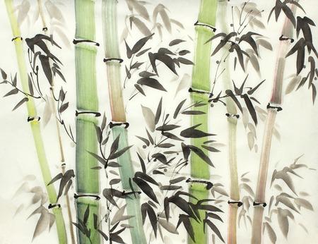 bosque de bambú brillante pintado en estilo chino